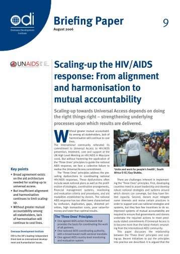 Scaling-up the HIV/AIDS response - Overseas Development Institute