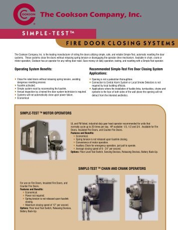 Simple-TestâÂu201e¢ Fire Door Closing Systems - The Cookson Company  sc 1 st  Yumpu & Fire Door Closing System Accessories - The Cookson Company pezcame.com