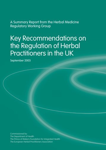 Key Recommendations on the Regulation of Herbal Practitioners