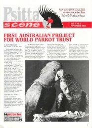 FIRST AUSTRALIAN PROJBCT FOR WORLD PARROT TRUST