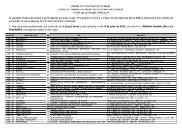 Edital - Locais e horário de realização da Prova Prático ... - OAB/MG