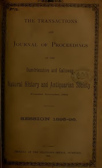 Vol 12 - Dumfriesshire & Galloway Natural History and Antiquarian ...