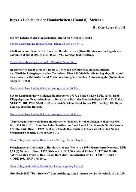 Download Beyers Lehrbuch Der Handarbeiten Band 8 Stricken