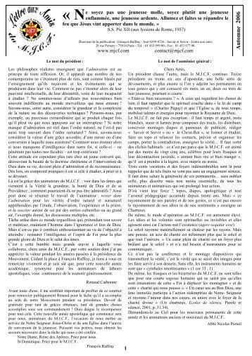 Lettre aux Amis et Bienfaiteurs de l'automne 2006 - La Porte Latine