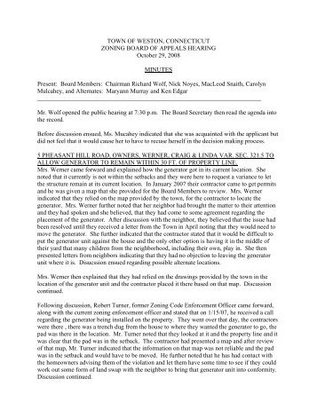 Zoning Board of Appeals Minutes - October 29, 2008