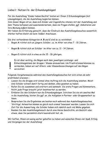 Erkundungsbögen zur Ausstellung (7-10 Jahre) - younicef.de