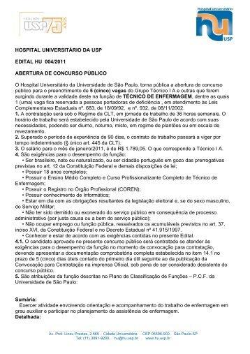 HOSPITAL UNIVERSITÁRIO DA USP EDITAL HU 004/2011 ...