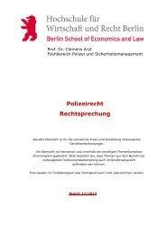 Polizeirecht (Rechtsprechung) - Hochschule für Wirtschaft und ...