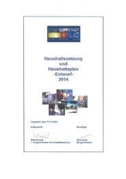 Entwurf Haushaltsplan 2014 Teil 1 - Lippstadt