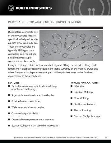 Plastic Industry and General Purpose Sensors ... - Durex Industries