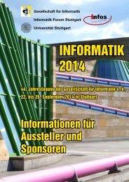 Informationen für Aussteller und Sponsoren - Informatik 2014