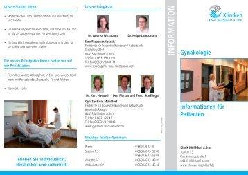 Info-Flyer Gynäkologie - Kliniken Kreis Mühldorf am Inn