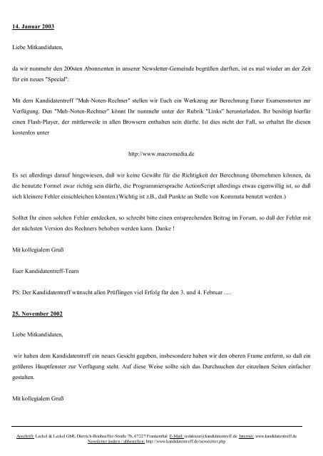 Alle Newsletter vom 1. September 2001 bis 27. April 2008