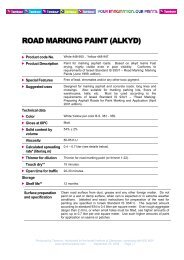 ROAD MARKING PAINT (ALKYD) - Tambour Paints