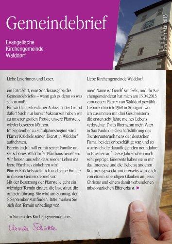 Gemeindebrief Walddorf Extra - Evangelische Kirchengemeinde ...