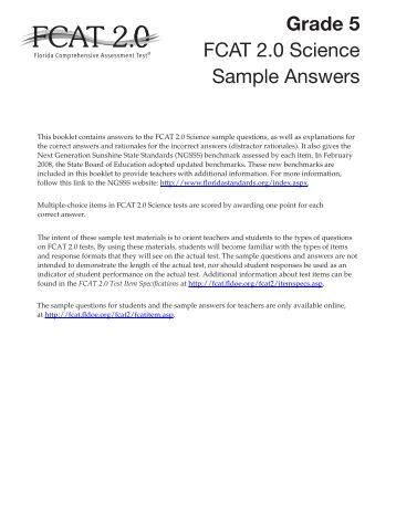 science fcat essay answer