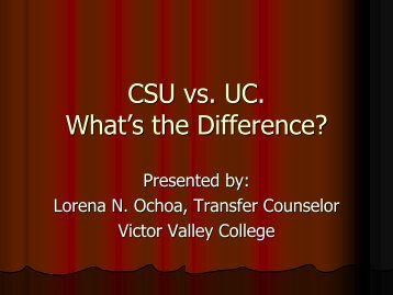 CSU vs. UC. What's the Difference? - Victor Valley College