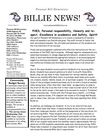 BILLIE NEWS! - Pleasant Hill School District #1