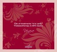 """List of treatments """"à la carte"""" Thalassotherapy & SPA ... - Delphina"""