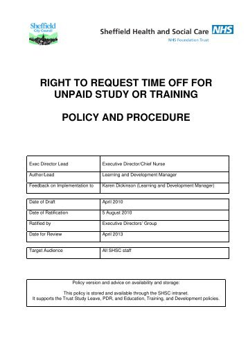 right to request time off for unpaid study or training policy and ...