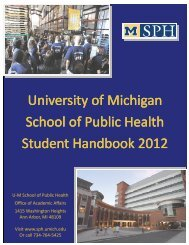 University of Michigan School of Public Health Student Handbook ...
