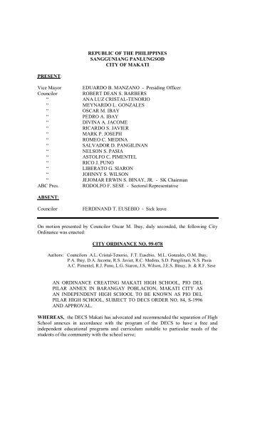 REPUBLIC OF THE PHILIPPINES SANGGUNIANG ... - Makati
