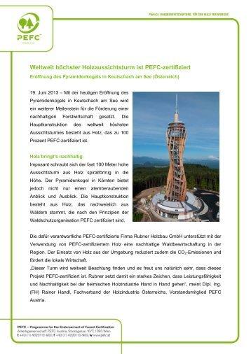 Weltweit höchster Holzaussichtsturm ist PEFC ... - PEFC Austria