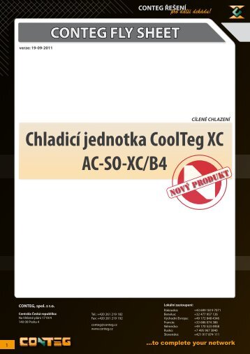 CONTEG FLY SHEET Chladicí jednotka CoolTeg XC AC‑SO‑XC/B4