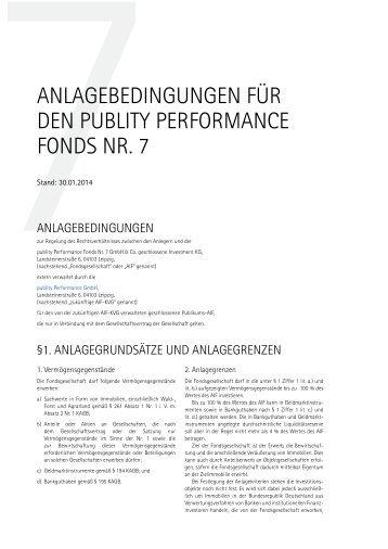 publity Performance Fonds Nr. 7 Anlagebedingungen