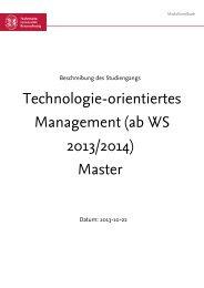 Technologie-orientiertes Management (ab WS 2013/2014) Master