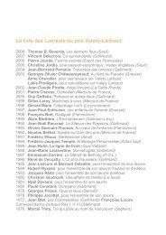 La liste des Lauréats du prix Valery-Larbaud - Vichy