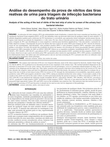 Análise do desempenho da prova de nitritos das tiras reativas de ...
