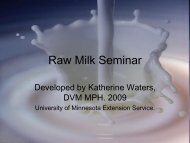 Raw Milk Seminar for Extension Nutrition Educators