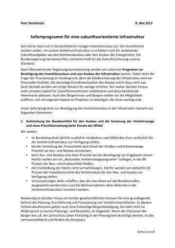 Sofortprogramm für eine zukunftsorientierte Infrastruktur - SPD