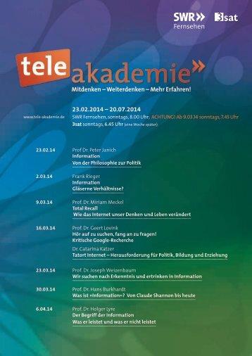 Das Programm 1. Halbjahr 14 als PDF-Download - Tele-Akademie