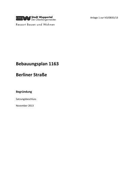 Bebauungsplan 1163 - Begründung zum ... - Stadt Wuppertal