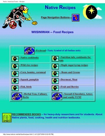 Native American Foods -- Recipes - Pole Shift Survival Information