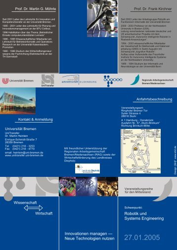Robotik und Systems Engineering - UniTransfer - Universität Bremen