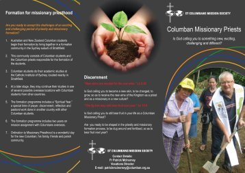 Columban Vocations (pdf) - St Columbans Mission Society