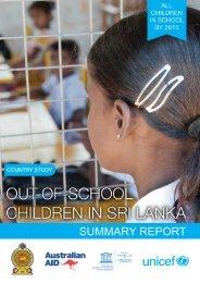 Out of School Children in Sri Lanka, Summary Report - Unicef