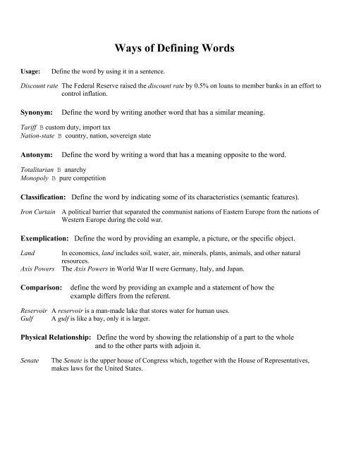 Ways of Defining Words