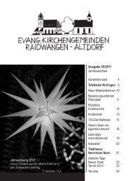 Ausgabe 03/2011 Jahreswechsel - Evangelische Kirchengemeinde ...
