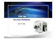PSK Inc Investor Relations