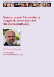 Demenz- neueste Erkenntnisse in Diagnostik, Präventions ... - Politik