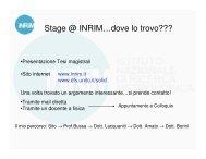 Stage @ INRIM…dove lo trovo??? - Fisica Sperimentale