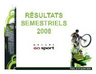 Résultats semestriels 2008 - Groupe Go Sport