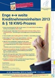 Enge weite Kreditnehmereinheiten 2013 & § 18 KWG-Prozess