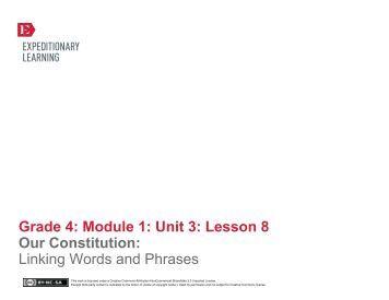Grade 4 ELA Module 1, Unit 3, Lesson 8 - EngageNY