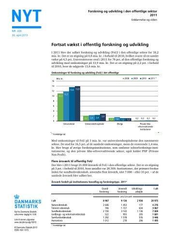 Nyt: Forskning og udvikling i den offentlige sektor 2011 - Danmarks ...