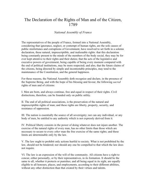 declaration of the rights of man pdf - Columbia College